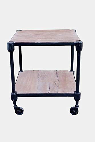 Iron Frame End Table With Wheels 2 Layers End Table With Shelf