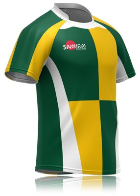 ab5e39eb9be Green and yellow chequered rugby shirt. A design basic from  www.samurai-sports.com where you can get a bespoke kit based on this design  or others.