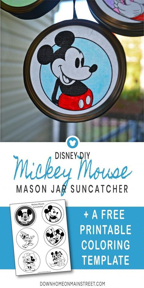 DISNEY SUNCATCHERS - This colorful mason jar lid craft will look amazing hanging from any window year round or as decoration piece for celebrating Mickey Mouse's Birthday. An easy and beautiful Disney craft for kids, families and any Disney lover. #DisneyDIY #Disneycrafts #MickeyMouse #MickeyMouseBirthday #kidscrafts #craftsforkids #easycrafts #masonjarcrafts #coloringpages #DisneyWorld  #DisneyPrincess  #DisneyArt