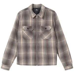 Heavy Brush Plaid Zip Up Shirt Long Sleeve Shirt Men Workwear Shirts Mens Woven Shirts