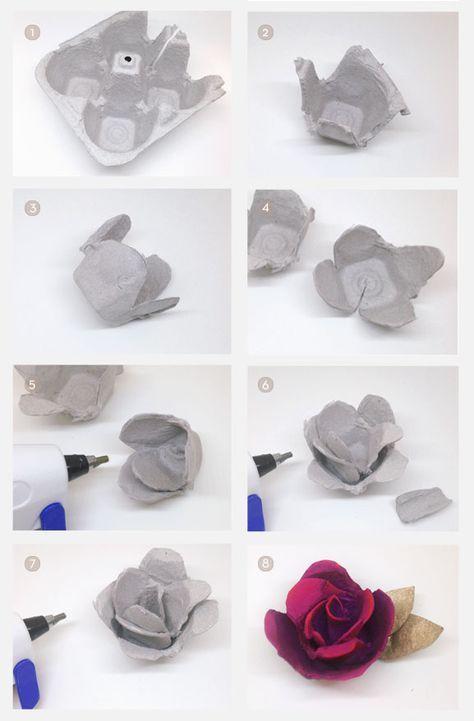 5 Ideas Para Hacer Flores Con Cajas De Huevos Paso A Paso Cartones De Huevos Artesanía De Cartón De Huevos Artesanía De Cartón