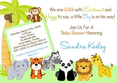 Jungle Safari Baby Shower Invitations Printable Or Printed Invitations Jungle Animals Baby Shower Tiger Elephant Panda Lion Giraffe Baby Shower Invitations Baby Shower Invitation Templates