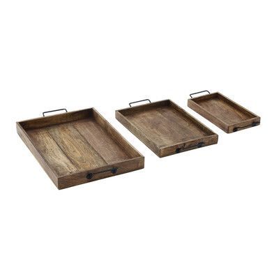 3 Piece Wood Tray Set Wood Tray Set Metal Serving Trays Serving Tray Set