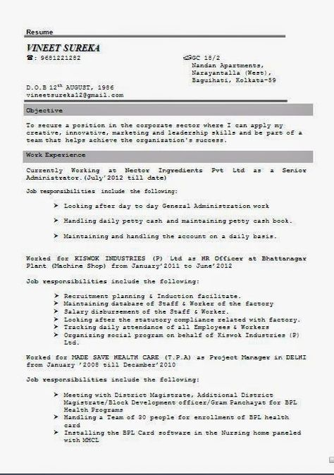 b experience resume Sample Template Example ofExcellent - project management career objective