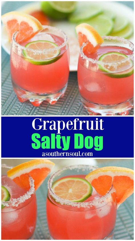 grapefruit cocktail Sweet, tart and salty is what a Grapefruit Salty Dog is all about! Its refreshing and a great simple, summer cocktail with a fresh burst of citrus flavor. Summer Cocktails, Cocktail Drinks, Cocktail Recipes, Salty Dog Cocktail Recipe, Salty Dog Recipe, Drink Recipes, Popular Cocktails, Fruit Drinks, Party Drinks