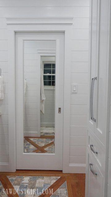 Bathroom Doors, Bathroom Renos, White Bathroom, Bathroom Renovations, Small Bathroom, Bathroom Pocket Door, Bathroom Ideas, Bathroom Organization, Bathroom Storage
