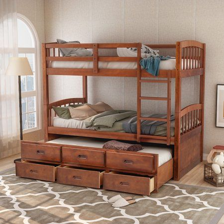 Harper Bright Designs Twin Over Twin Wood Bunk Bed With Trundle And Drawers Walnut Brown In 2019 Bunk Bed With Trundle Wood Bunk Beds Twin Bunk Beds