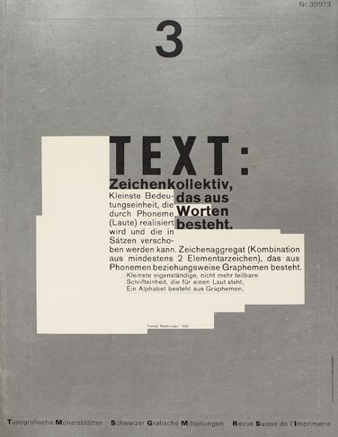 Cover from 1973 issue 3. Wolfgang Weingart | (1941) German typographer and graphic designer who studied at the Schule für Gestaltung Basel and taught there and at many other universities and colleges. He is well known for his experimentation with type and for challenging preeminent conventions of modern Swiss typography.