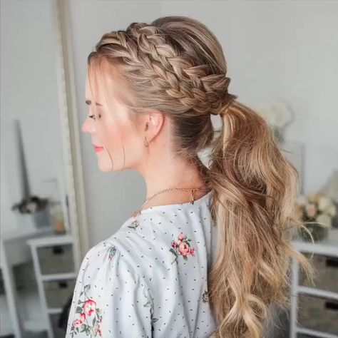 hair inspiration videos Easy ponytail braided hair with puffy crown tutorial on blond, long hair. Beautiful for a bride, bridesmaids or wedding guests to try. Find more hair inspiration on the link. Video: misssueblog // mysweetengagement.com // #wedding #bridal #bride #weddinghairstyles #weddinghair #bridalhair #bridalhairstyle #bridesmaidhair #hairstyles #hairstyleideas #ponytail #hairtytorial #braids #braidedhairstyles #braidstyles