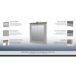 Badezimmer Spiegelschrank Dindigul 08 Farbe Grau 73 X 64 X