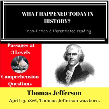Thomas Jefferson Differentiated Reading Comprehension Passage