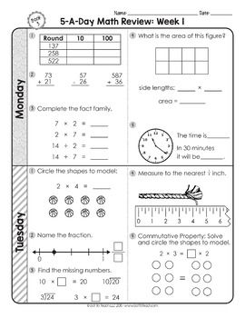 3rd Grade Daily Math Spiral Review 2 Weeks Free With Images