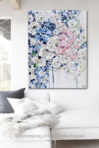 Original Art Abstract Painting Modern Floral Navy Blue White Pink Flowers Fine Art Wall Decor 30x40 Modern Abstract Painting Floral Painting Abstract Painting