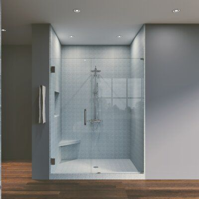 Symphony Shower Doors 43 25 X 76 Hinged Frameless Shower Door Finish Brushed Nickel In 2020 Frameless Shower Doors Bathtub Doors Shower Doors