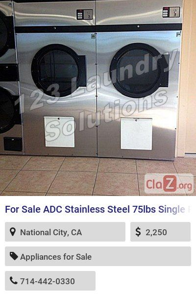 For Sale Adc Stainless Steel 75lbs Single Pocket Dryer 120v Adg758dv 175 000 Btu Hr Used Appliance Sale Stainless Steel Coin Operated