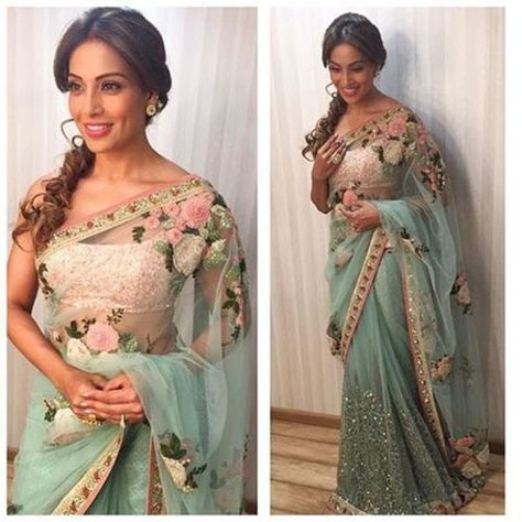 Bollywood Beauty Bipasha Basu In Mint Green Netted Saree