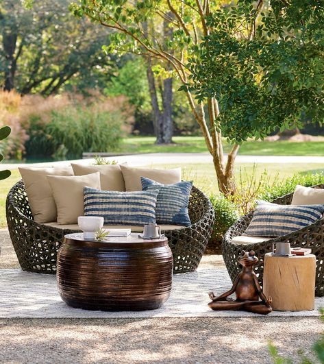 Uncomplicated modern form is always transformative, which is why the Mason Loveseat and Cocoon Chairs can recalibrate the energy of your outdoor space. This high-style design is beautifully created with an airy, open-weave look in HDPE wicker. A very strong material offering a long, functional life, this resin wicker can withstand downpours, and the sun's effects.