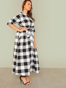 SHEIN Plus Self Belted Gingham Dress plus size clothing plus size