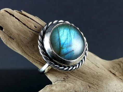 Labradorite Ring Statement Ring Chunky Ring Handmade Silver Ring Sterling Silver Gift for Her Gift for Women Blue Stone Ring