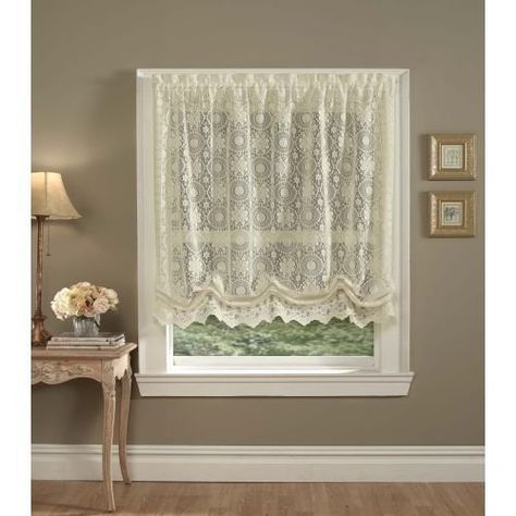 Hopewell White 36 Tier TIER-707-36-WHT Sweet Home Collection Old World Style Floral Heavy Lace Kitchen Curtain 36 Tier