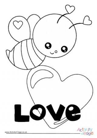 Valentine S Day Bee Colouring Page Bee Coloring Pages Coloring Pages Elephant Coloring Page