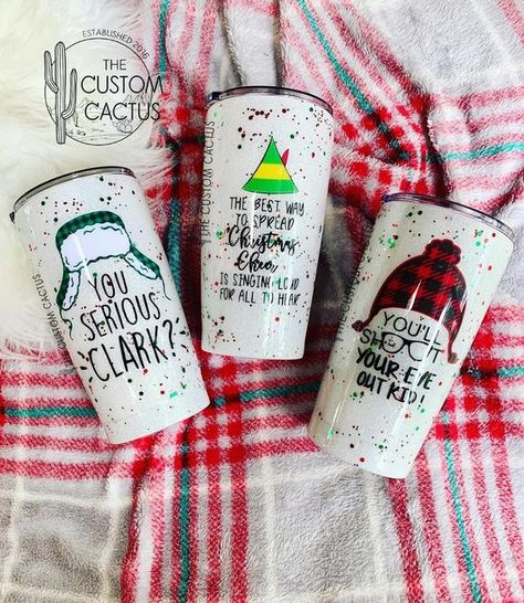 Christmas Glitter Tumbler / Elf Glitter Tumbler / A Christmas Story Glitter Tumbler / National Lampoons Glitter Tumbler / The Custom Cactus Vinyl Tumblers, Personalized Tumblers, Custom Tumblers, A Christmas Story, Christmas Crafts, Christmas Cup, Christmas Glitter, Handmade Home, Christmas Tumblers