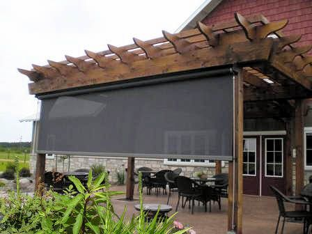 Slidewire Outdoor Roman Shades Modern Patio Los Angeles Calshades And Awnings Inc Modern Patio Design Patio Shade Modern Patio
