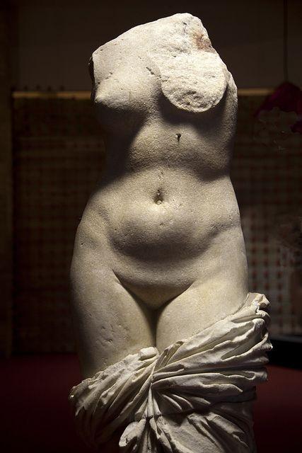 Ancient Greek statue of Aphrodite / Venus , 2500 years ago    Paestum Archaeological Museum, Campania, Cilento NP, Italy