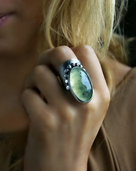 Origin of Life - Prehnite Sterling Silver Ring
