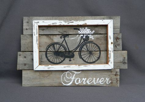 Wedding Reclaimed Wood Pallet wall Art, white Hand painted Daisies antique bike, Wall art sign, barn wood, Distressed, Rustic & Shabby Chic