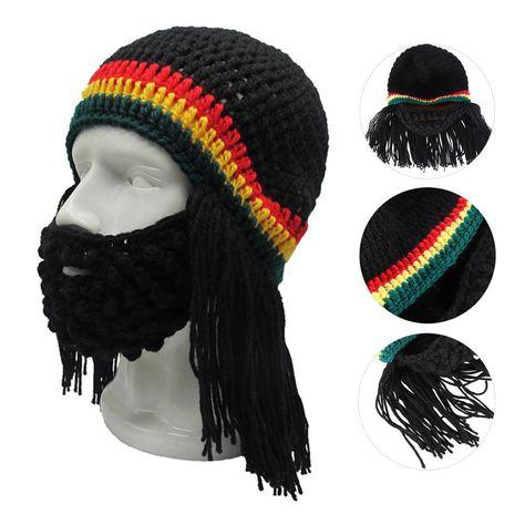 Handmade Knitted Winter Warm Jamaican Reggae Beard Wig Hat Ski Mask Caps Beanie