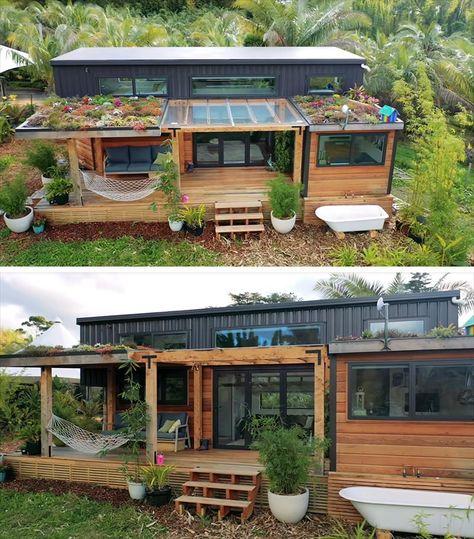 Modern Tiny House, Tiny House Cabin, Tiny House Living, Tiny House Plans, Tiny House Design, My House, Green House Design, Best Tiny House, Container House Design