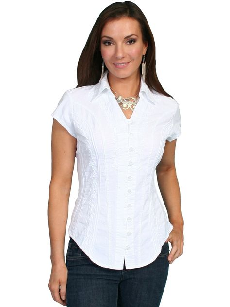 9884fe492cdc Scully Cantina Womens White 100% Cotton Cap Sleeve Vine Blouse ...