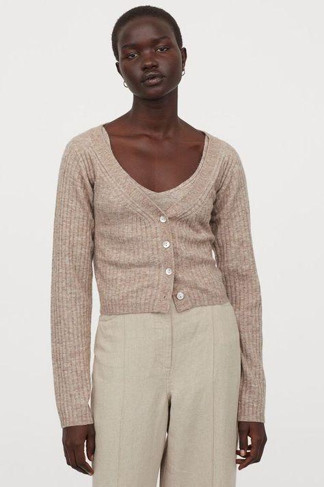 HM Rib-Knit Wool-Blend Cardigan