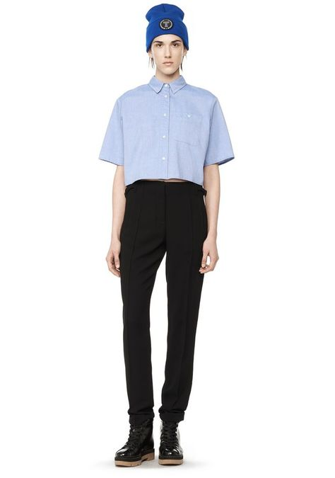 905b3a93745a4 T by ALEXANDER WANG CROPPED COLLARED OXFORD SHIRT