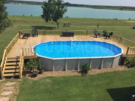 Pool Deck Ideas (Partial Deck) - The Pool Factory Oval Above Ground Pools, Best Above Ground Pool, Above Ground Swimming Pools, In Ground Pools, Deck Ideas For Above Ground Pools, Diy In Ground Pool, Rectangle Above Ground Pool, Oberirdischer Pool, Swimming Pool Landscaping