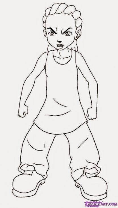 Little Riley In His Armless Tshirt In The Boondocks Coloring