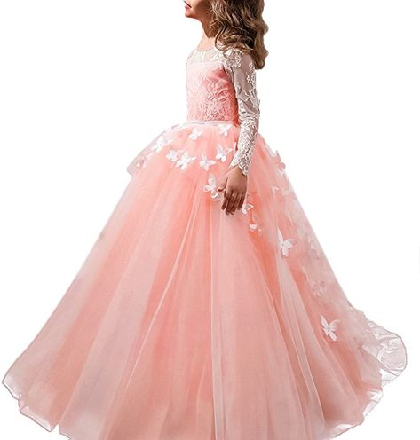 361cb88d0d8c Flower Girls Dress for Wedding Lace Applique Embroidered Kids Princess  First Communion Party Bridesmaid Floor Length Layered Pink Butterfly Flowers  12-13 ...