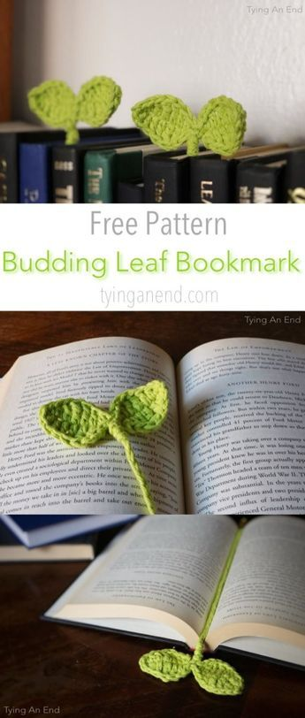 [Free Crochet Pattern] Cute little leaves to guide your reading! Budding Leaf Bookmark by Tying An End [Free Crochet Pattern] Cute little leaves to guide your reading! Budding Leaf Bookmark by Tying An End Marque-pages Au Crochet, Crochet Gratis, Learn To Crochet, Cute Crochet, Crochet Stitches, Crotchet, Crochet Books, Diy Crochet Gifts, Scarf Crochet