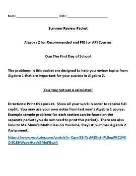 Summer Algebra 2 Assignment | Summer Math Assignments