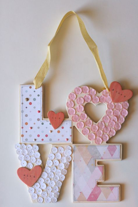 Love Home Decor - Scrapbook.com- Holiday or everyday home decor! Easily personalize wood with paper and sequins.