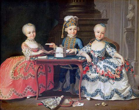 Мальчик и две девочки, строящие карточный домик. Франсуа-Юбер Друэ