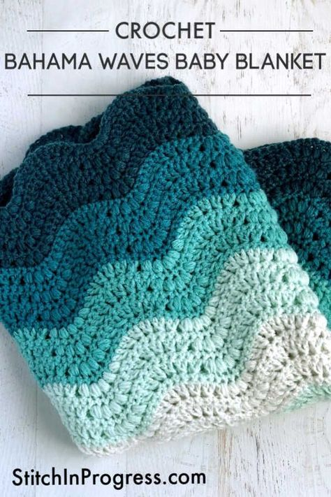 This gorgeous free pattern is easy to make and looks stunning for any modern nursery You can create this subtle wave pattern using the video tutorials on the post This one will make baby and parents smile crochet babyblanket freepattern nursery babygift Crochet Baby Blanket Free Pattern, Afghan Crochet Patterns, Crochet Stitches, Knitting Patterns, Crochet Wave Pattern, Baby Blankets To Crochet, Chevron Baby Blankets, Crochet Throws, Crochet Mandala