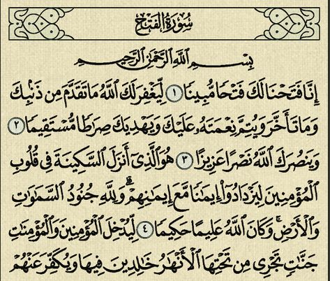 شرح وتفسير سورة الفتح Surah Al Fath Arabic Calligraphy Al Fath Calligraphy