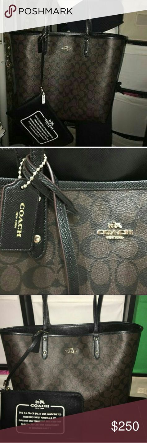 """Coach signature reversible bag Coach Signature Reversible City?  PVC?  Brown Black  ?F36658?  Tote w/ Pouch handbag  Zip-top closure pouch- 6 inches height and 9"""" wide  Strap Drop -10 """"  ?17"""" (L) x 11"""" (H) x 6"""" (W) Bottom  Light Gold Logo Hardware Coach Bags Shoulder Bags"""