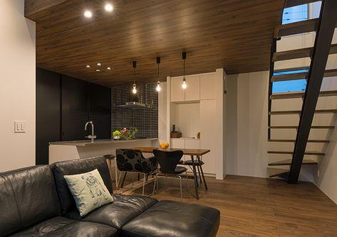 注文住宅 デザイン住宅 一戸建て 設計事務所 インテリア エクステリア キッチン リビング ダウンライト デザイン照明 ペンダントライト 力桁階段 階段 ストリップ