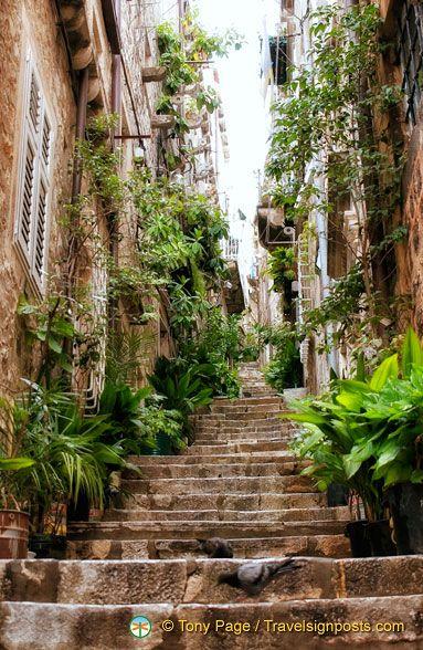 A beautiful side street in Dubrovnik,Croatia Old Town