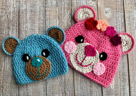 801719c9b56 Crochet Pattern Only - Crochet Teddy Bear Hats for Girls and Boys -  Children s Teddy Crochet Hat - Infant Teddy Crochet Hat by FurBabiesCB on  Etsy