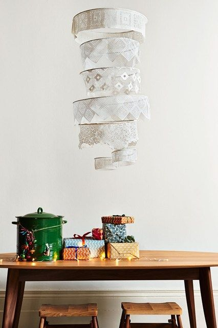 Lace Chandelier Diy Diy Chandelier Christmas Hanging Decorations Christmas Decor Diy