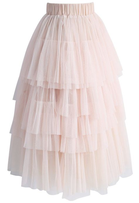 Swooning? We get it! This layered tulle skirt in a confectionary pink has us head over heels in love.  - Tiered mesh fabric finished - Multi mesh layer - Elastic waistband - Lined - 100% Polyester - Hand wash cold  Size(cm)Length Waist XS-S      85   56-70 M-L       86   60-74 XL        87   64-78 Size(inch)Length Waist XS-S       33.5  22-27.5 M-L        34  23.5-29 XL         34.5 25-30.5  * XS-S fits for US 0-4, UK 6-8, EU34-36 * ...